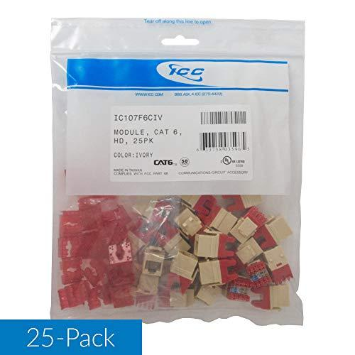 Icc Cat6 Rj45 Keystone Jack For Hd Style, Ivory, 25-Pack