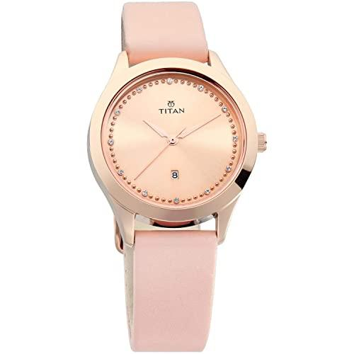Titan Sparkle Pink Dial Analog Date Function Watch for Women