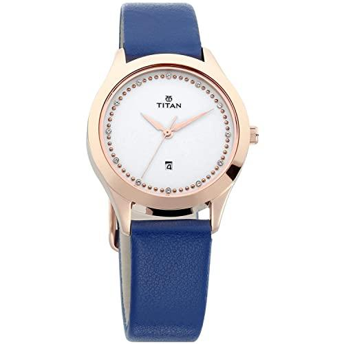 Titan Sparkle White Dial Analog Date Function Watch for Women