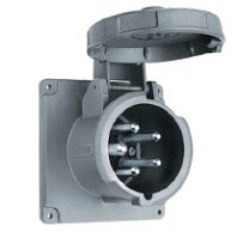 """Hubbell Wiring Systems M5100B9R Ship-To-Shore Nylon Shore Power Inlet, 4 Pole, 5 Wire, 100 Amps, 120/208V Ac, 3 Phase, 4.88"""" Mounting Hole Diameter, Gray"""