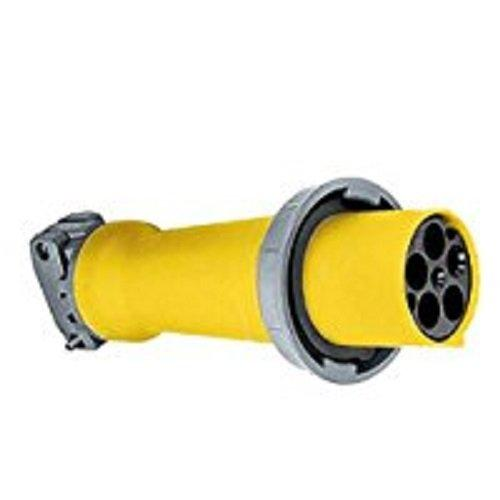 """Hubbell Wiring Systems M5100C9R Ship-To-Shore Zytel Super Tough Nylon Watertight Connector Body, 4 Pole, 5 Wire, 100 Amps, 120/208V Ac, 3 Phase, 1-1.94"""" Cord Grip Range, Yellow"""