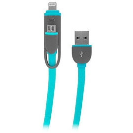 2-In-1 Charge And Sync Cable W/ Microusb And Lightning Connectors, Blue