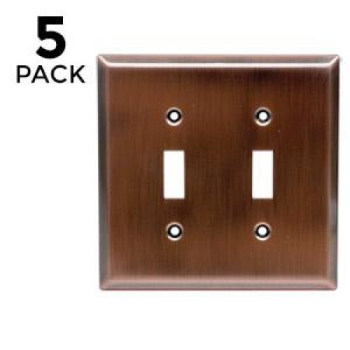 Ge 57383 Double Switch Wall Plate (5 Pack), Copper Finish