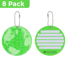 Protege Neon Round Ez Id Luggage Tags, Green Family Pack (8 Tags)
