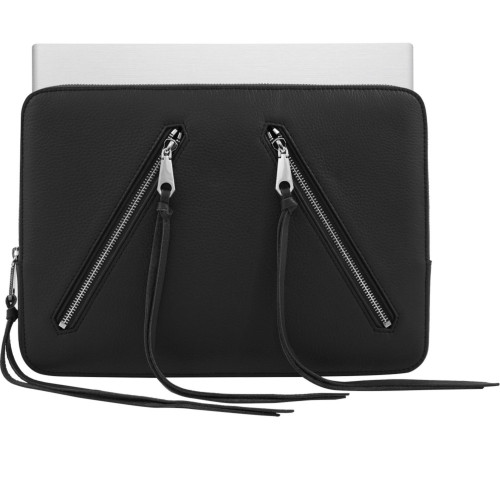 Rebecca Minkoff Moto 13 Sleeve Case Macbook Laptop Black Pebble Leather