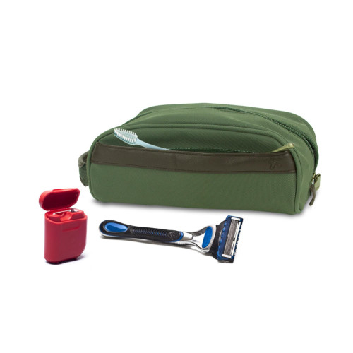 Travelon Classic Plus Top Zip Toiletry Kit Travel Accessory Bag Olive