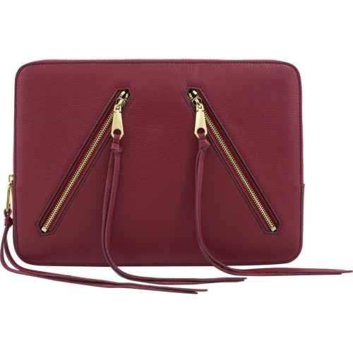 Rebecca Minkoff Moto 13 Sleeve - Red Pebble Leather