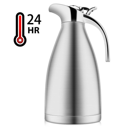 HYTX 68 Oz/ 2 Liter Stainless Steel Thermal Coffee Carafe/Double Walled Vacuum Insulated Thermos, Hot Water Pot Up to 12 Hrs. Heat & Cold Retention