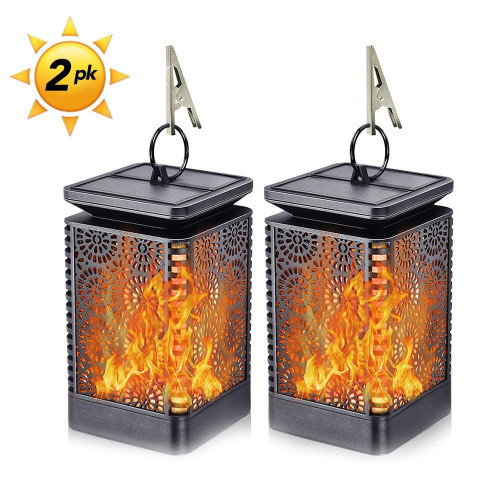 HYTX 2pcs Solar Flame Lantern light, Flickering Dancing Flame Outdoor LED Lights, Patio Decoration light, auto on and off, Waterproof solar power (2 pcs)