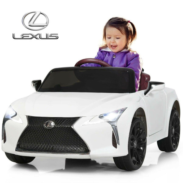 Lexus LC500 Electric Vehicle with Remote Control, 12V Kids Cars to Drive,Ride on Car with Music Horn MP3 LED Light,White color