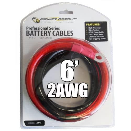 Power Bright 2-Awg6 2 Awg Gauge 6-Foot Professional Series Inverter Cables 2000-2500 Watt