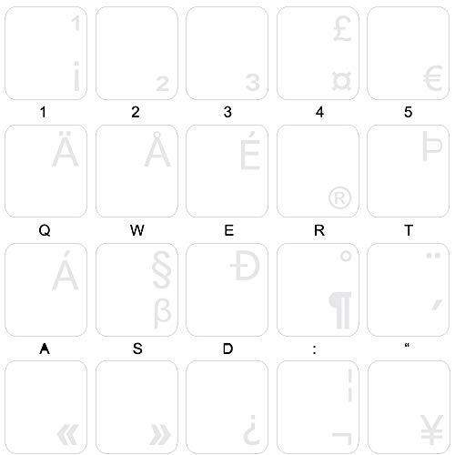 English Us International Keyboard Labels With White Lettering On Transparent Background For Desktop, Laptop And Notebook