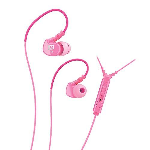 MEE audio Sport-Fi M6P Memory Wire In-Ear Headphones with Microphone Remote and Universal Volume Control (Pink)