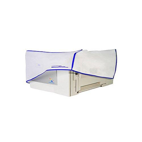 Computer Dust Solutions Printer Dust Cover, Covers Inkjet Or Laser Printers, Silky Smooth Antistatic Vinyl, Translucent Coconut Cream Color With Blue Trim, Several, (26W X8H X16D)