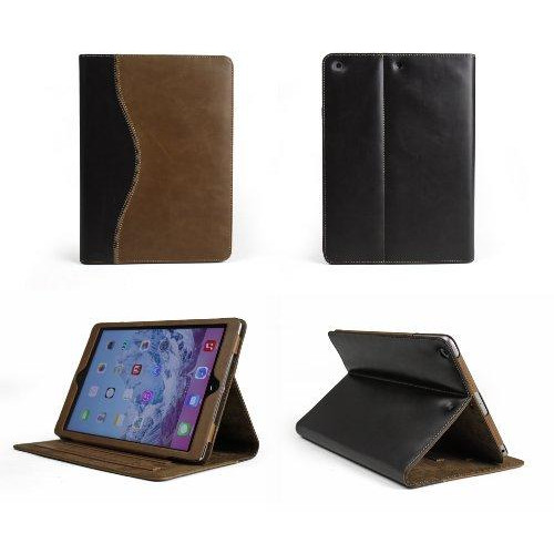 Bear Motion Buffalo Hide Leather Case For Apple Ipad Air 1 And New Ipad 2017 - Curve Brown / Brown