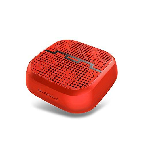 Sol Republic Punk Wireless Portable Bluetooth Speaker - Water & Sand Resistant, 60Ft Range, Quick Bluetooth Pair, Ultra Portable, Aux In, Aux Out, Camerabike Mount, Sol-P1510Rd Red