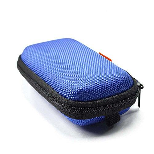 Glcon Rectangle Shaped Portable Protection Hard Eva Case,Mesh Inner Pocket,Zipper Enclosure Durable Exterior,Lightweight Universal Carrying Bag Wired/Bluetooth Headset Charger Change Purse (Blue)