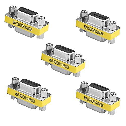 SIENOC 9 Pin RS-232 DB9 Male to Male/Female to Female Serial Cable Gender Changer Coupler Adapter (5 Packs 15 Pin VGA F/F Gender Changer)