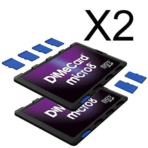 DiMeCard micro8 microSD Memory Card Holder 2-PACK (Ultra thin credit card size holder writable label)