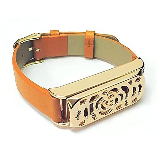 BSI New Flowers Design Rose Gold Metal Jewelry Housing With Good Quality Brown Leather Straps Replacement Bracelet For Fitbit Flex Activity Wristband Fitness Tracker