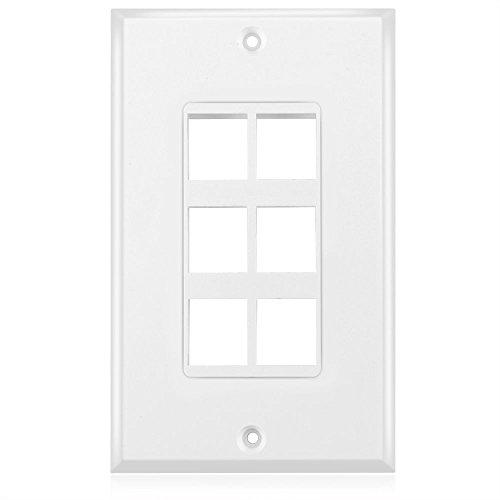 Tnp Keystone Wall Plate (5 Pack) - 1 Port Keystone Insert Jack Single Gang Wiring Plug Socket Decorative Face Cover Outlet Mount Panel With Screws White
