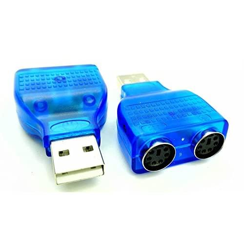 zdyCGTime (2-Pack) Blue Mouse Keyboard USB A Male to Dual PS/2 Female Connector AdapterNew USB Male to 2 PS/2 Female Active Adapter T-Splitter