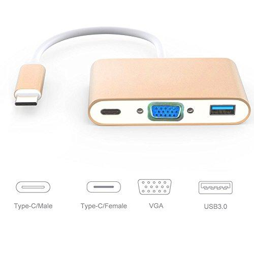 USB 31 Hub Bestech USB Type C to VGA/USB 30/USB C Female 3-in-1 Multiport Adapter Converter Hub for MacBook 2015/2016 Chromebook Pixel and More