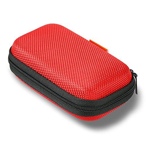Glcon Red Rectangle Portable Protection Hard Eva Case,Mesh Inner Pocket,Zipper Enclosure Durable Exterior,Lightweight Universal Carrying Bag For Headset Earbud Charge Cable Usb Mp3 Key Change Purse