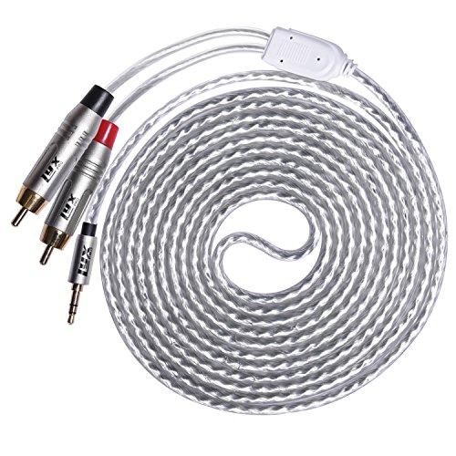 LyxPro Y-Cable Aux to RCA Male 35mm Male to Dual RCA Male Stereo Audio Y-Splitter Adapter Cable - 10 Feet