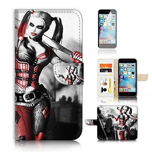 ( For iPhone 7 Plus 55 ) Flip Wallet Case Cover and Screen Protector Bundle A8600 Harley Quinn