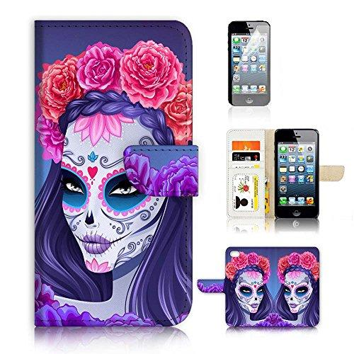 ( For iPhone 5 5S / iPhone SE ) Flip Wallet Case Cover and Screen Protector Bundle A20256 Sugar Skull
