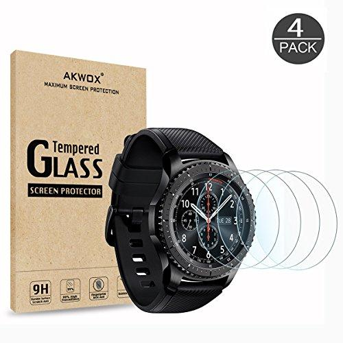 (4-Pack) Gear S3 Tempered Glass Screen Protector Akwox [03mm 25D High Definition 9H] Premium Clear Screen Protective Film for Samsung Gear S3 Frontier / Classic Smart Watch 13 Inch