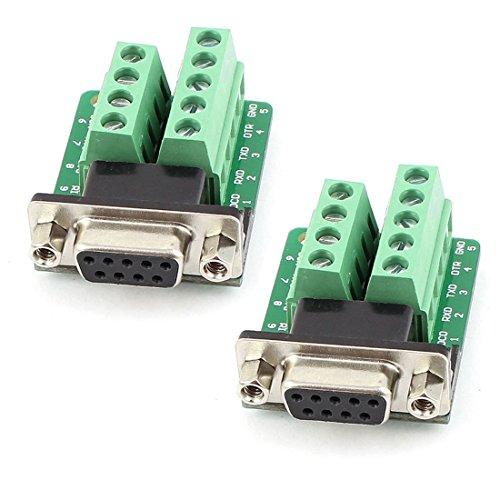 Sysly Db9 Female D-Sub Adapter Plate Connector Rs232 Serial To Terminal Board Signal Module 2 Pcs