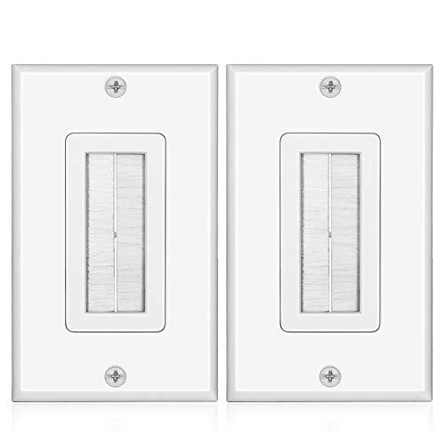 Tnp Brush Wall Plate (2 Pack) - Single Gang Cable Entry Access Brush Bristles Style Strap Opening Port Insert Socket Wiring Plug Jack Decorative Face Cover Outlet Mount Panel (White)