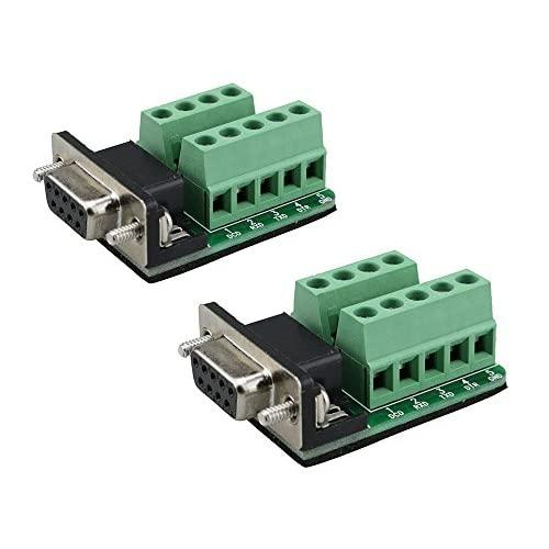 Sysly Db9 Female D-Sub Adapter Plate Connector Rs232 Serial To Terminal Board Signal Module Riveting Tooth 2 Pcs