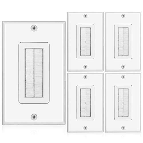 Tnp Brush Wall Plate (5 Pack) - Single Gang Cable Entry Access Brush Bristles Style Strap Opening Port Insert Socket Wiring Plug Jack Decorative Face Cover Outlet Mount Panel (White)