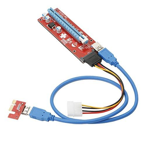 USB30 PCI-E PCI Express 1X to 16X Riser Card Adapter with 15pin SATA Power Slot Connector
