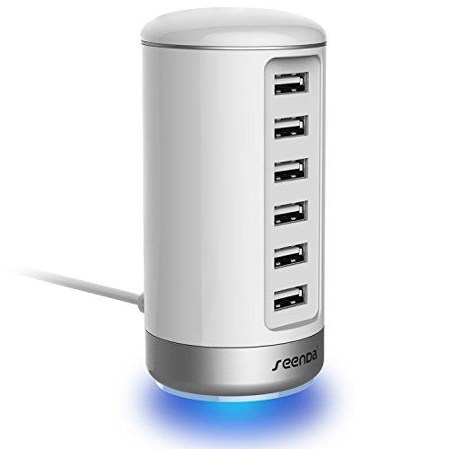 Seenda Usb Wall Charger, Usb Phone Charger - 6-Port Multi Usb Charger With Smart Identification - White