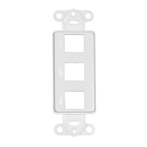 Acl Decora Insert 3 Hole For Keystone Jack Wall Plate, White, 5 Pack