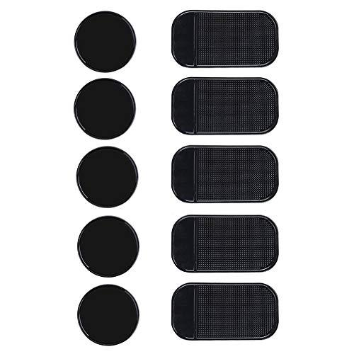10 Packs Anti-Slip Gel Pads Viaky Fixate Sticky Cell Pads Non-Slip Gel Mat Sticky Auto Gel HolderCan Stick to Cellphone Pad KeysGlass Mirrors Whiteboards Metal (Black)