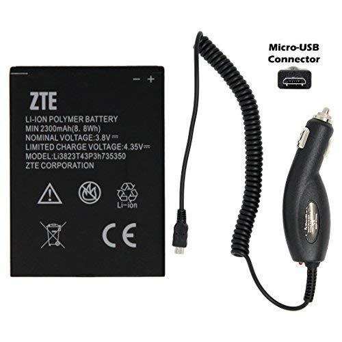 NEW ZTE Li3823T43P3H735350 Battery 2300mAh for ZTE N986 N9835 GRAND X V975 U988S Q801U MF64 Z64 Z826 with Universal Micro-USB Car Charger - 100% OEM - in Non-retail Package (USA Seller)