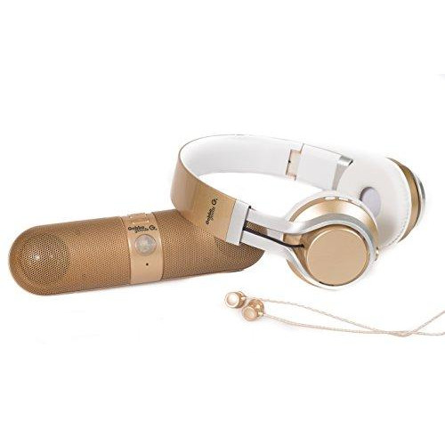 Gabbagoods 3 Piece Metallix Electronics Gift Combo Set- Includes A Gabba Goods Bluetooth Wireless Audio Sound Speaker, Over The Ear Bluetooth Foldable Headset, & Earbuds With Built-In Mic- Gold