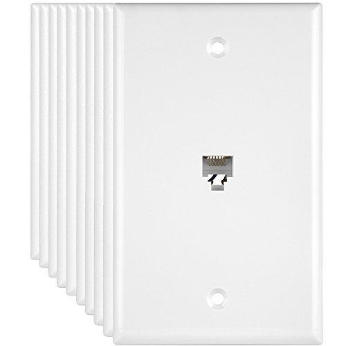 """Enerlites Rj11 Telephone Jack Wall Plate, 6-Position 6-Conductor 6P6C (2 Line Support), 1-Gang 4.50"""" X 2.76"""", 6631-W-10Pcs, White (10 Pack)"""
