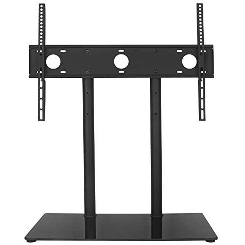 WALI Universal Table Top TV Stand with Glass Base and Security Wire Fits Most 32-60 inch LED LCD OLED and Plasma Flat Screen with VESA Pattern up to 600x400 (TVDVD-2) Black