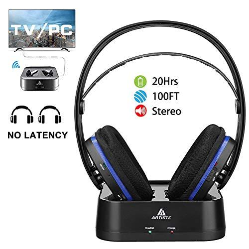 Wireless TV Headphones Over Ear Headsets - Digital Stereo Headsets with 24GHz RF Transmitter Charging Dock 100ft Wireless Range and Rechargeable 20 Hour Battery TV Headphone Wireless