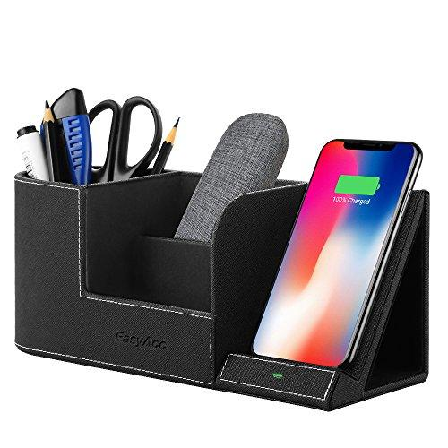 Easyacc Wireless Charger Desk Stand Organizer Wireless Charging Station For Iphone 12 11 Pro X Xs Max Xr 8 Plus And Samsung S7 Edge S8 S9 Plus Note 8 9And More, Desk Storage Caddy Pen Pad Holder