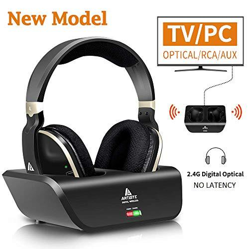 Wireless Headphones for TV with Optical MONODEAL Digital Stereo Over Ear Headsets with Charging Dock 24GHz Rf Transmitter 20H Playtime for TV Pc Mobile