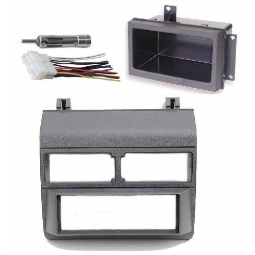 Grey Gray Complete Single Din Dash Kit + Pocket Kit + Wire Harness + Antenna Adapter Compatible With Chevrolet & Gmc 1988-1996 Select Models
