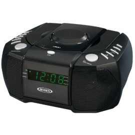 Jensen Jcr-310 Am/Fm Stereo Dual Alarm Clock Radio With Top Loading Cd Player, Digital Tuner And Aux Input, Black