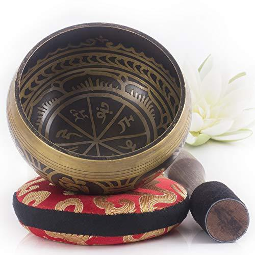 Tibetan Singing Bowl Set ~ Easy To Play With Dual-End Striker & Cushion ~ Beautiful Sound For Holistic Healing, Meditation & Relaxation ~ Gratitude Pattern ~ Antique Light Brown Bowl With Red Pillow